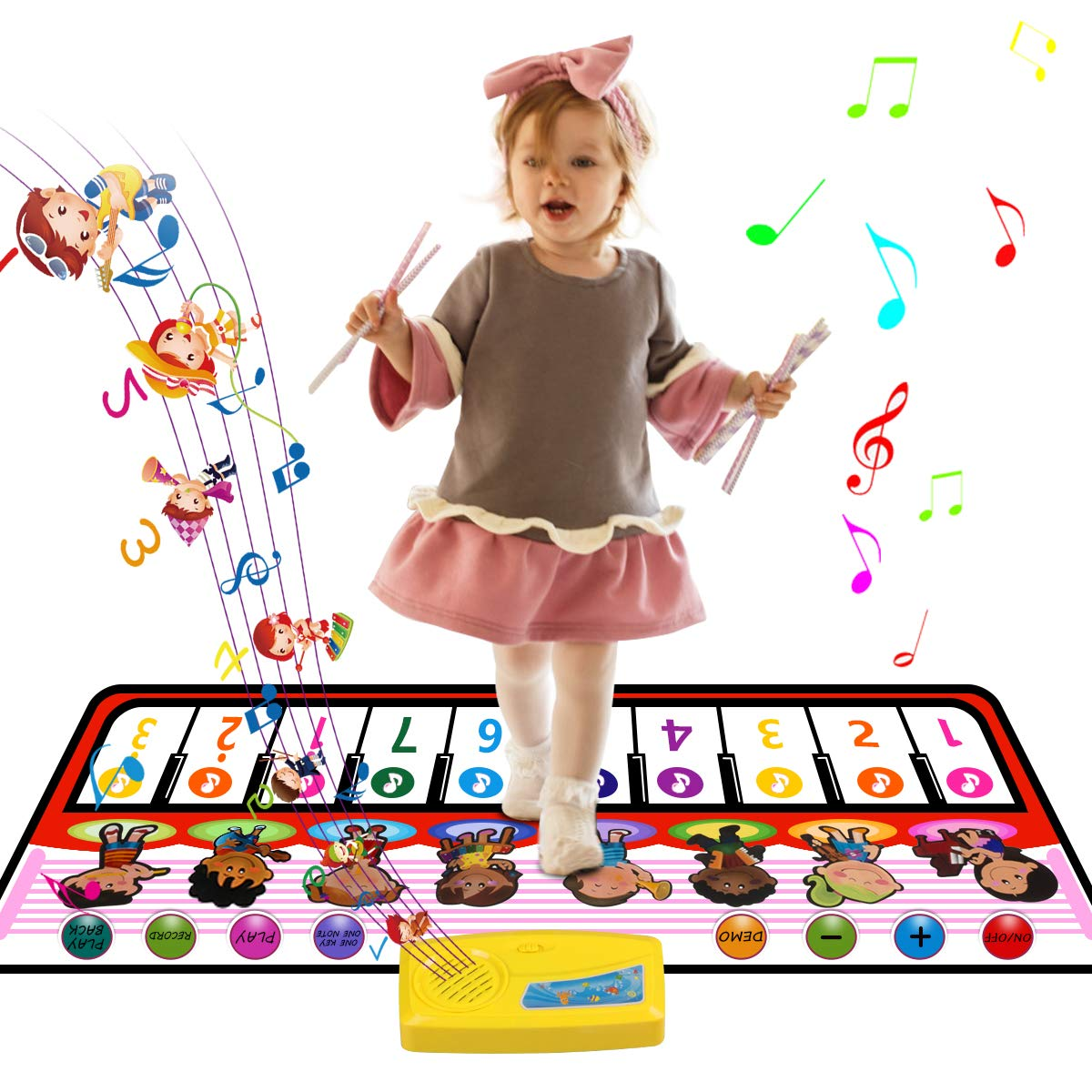 WOSTOO Piano Music Mat, Baby Early Education Electronic Music Piano Keyboard Playmat Colorful Dance Mat has 8 Selectable Musical Instruments for Little Boys Girls Baby by WOSTOO