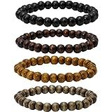 Eigso 8mm Wood Beads Bracelet Prayer Beads for Meditation Buddha Tibetan Bracelet for Men and Women