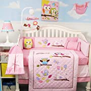 SoHo Owls Meadowland Baby Crib Nursery Bedding Set 13 pcs included Diaper Bag with Accessories
