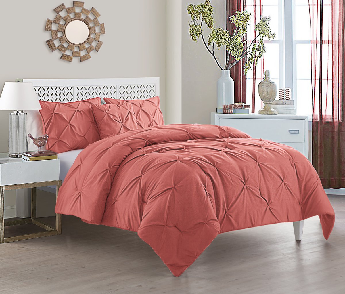 "VCNY Home Carmen Pinch Pleat 4-Piece, King 104"" x 90"", Coral"
