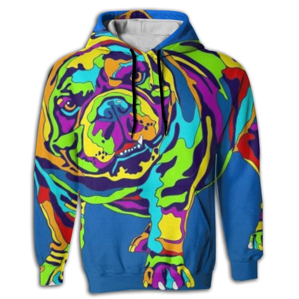 QQMIMIG Unisex English Bulldog 3D Printed Pullover Long Sleeve Fleece Hooded Sweatshirts with Pockets