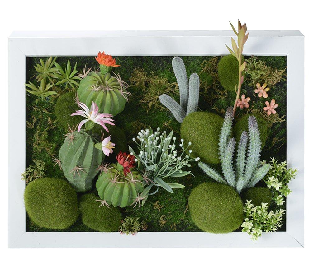 3D Fleurs Artificielles Support mural Cactus Mousse sur la pierre feuilles vert herbe Fleur Rose avec cadre forme vase, 30x 40cm KAIMO