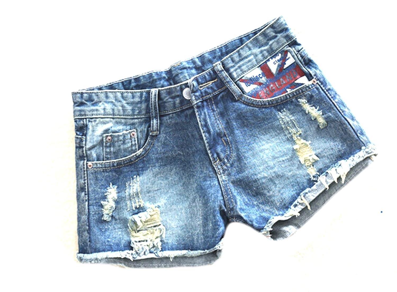 Unko Womens Ripped Mid Rise Faded Pocket Denim Shorts
