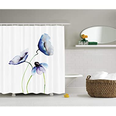 Ambesonne Watercolor Flower Decor Collection, Poppies Wildflowers Blooms in Watercolor Painting, Polyester Fabric Bathroom Shower Curtain Set with Hooks, Navy Blue White Green