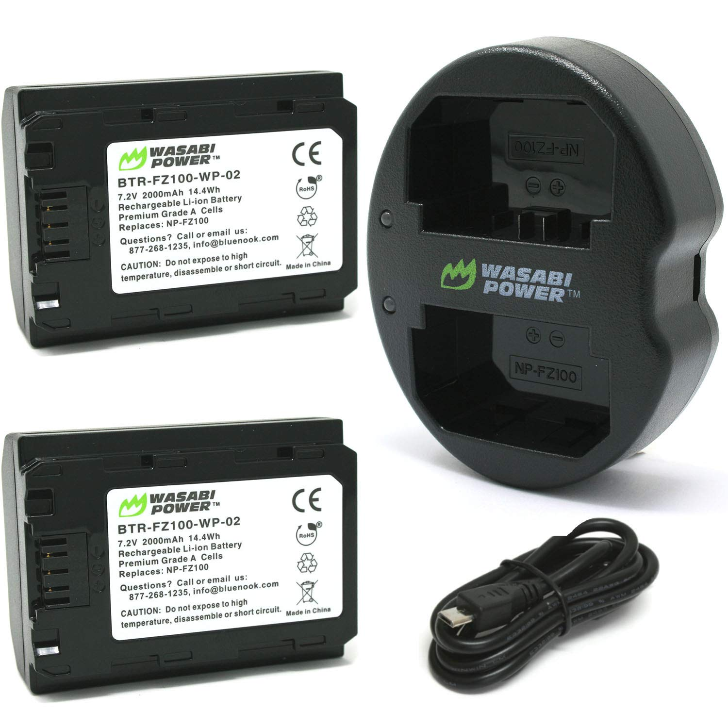 Wasabi Power Battery (2-Pack) and Dual USB Charger for Sony NP-FZ100, BC-QZ1 and Sony FX3, a1, a9, a9 II, a7C, a7R III, a7R IV, a7S III, a7 III, a7 IV, a6600