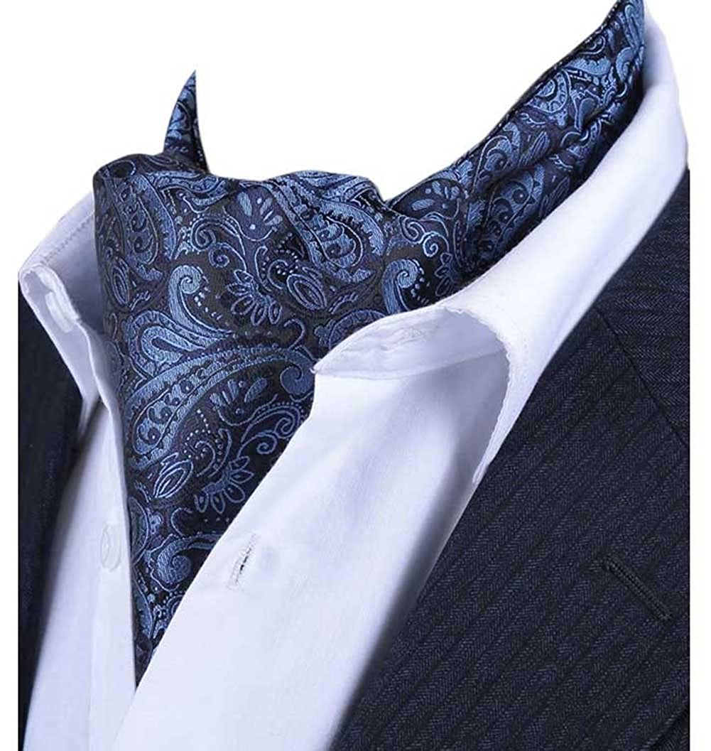 L04BABY Mens Blue Paisley Floral Ties Silk Suit Ascot Jacquard Woven Cravat