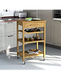 Rolling Bamboo Kitchen Island Storage Bakers Cart Wine Rack W/ Drawer U0026  Shelves