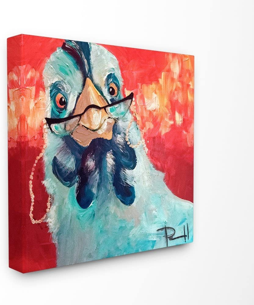 Stupell Industries Stylishly Appalled and Painterly Chicken Canvas Wall Art, 17 x 17, Multi-Color