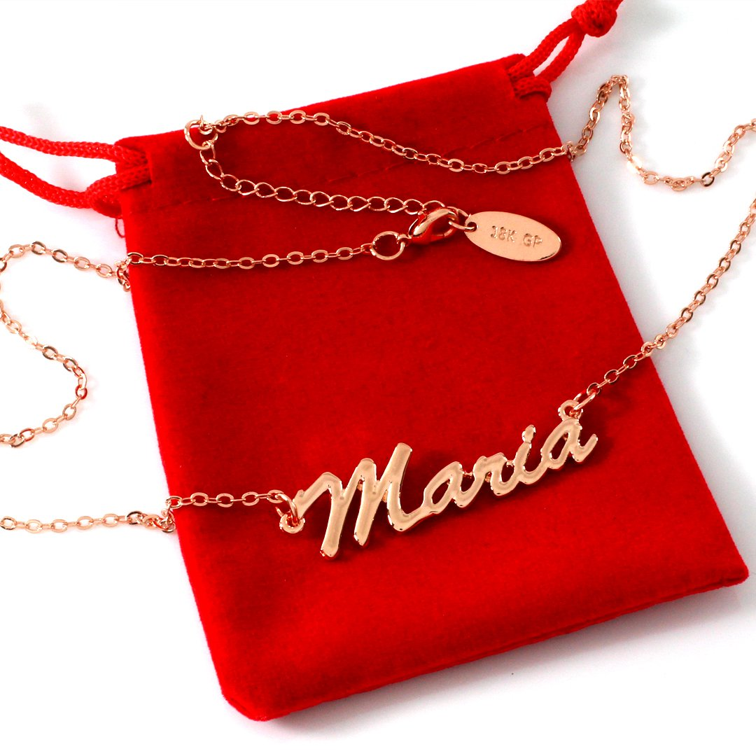 c2891aee010e8 Zacria Personalized Name Necklace Maria 18K Rose Gold Plated