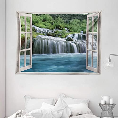 Ambesonne Waterfall Tapestry, Majestic Waterfall Landscape Through a Window Imaginary Secret Paradise Print, Wide Wall Hanging for Bedroom Living Room Dorm, 80 X 60 , Blue Green