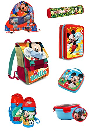 29bf541f2ce22 Disney Mickey Mouse 7 Piece School Bag Set School Backpack Stainless 2016