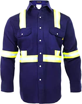 Flame Resistant FR High Visibility Hi Vis Shirt 88/% C//12/% N Small, Navy Blue 7oz