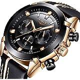 LIGE Relojes Hombre,Impermeable Militar Deportes Cronógrafo Analógico Cuarzo Cuero Date Large Dial