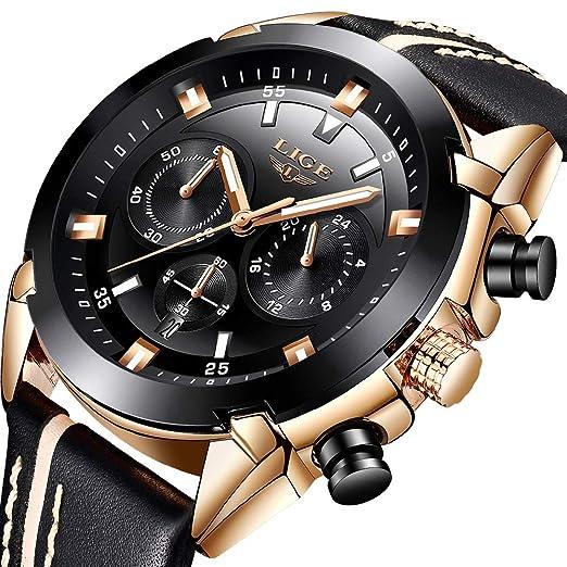 LIGE Relojes Hombre,Impermeable Militar Deportes Cronógrafo Analógico Cuarzo Relojes Cuero Date Large Dial: Amazon.es: Relojes