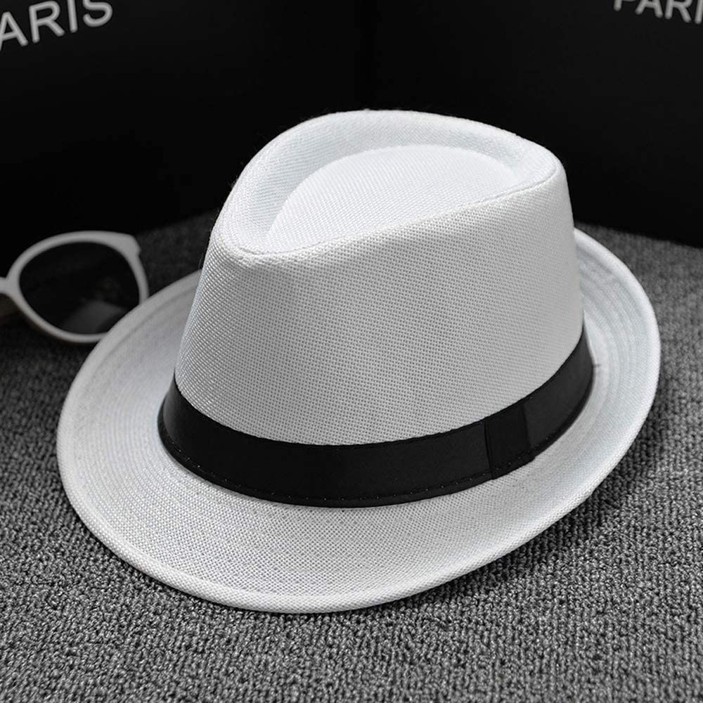 iTranyees Men Women Crushable Fedora Hat Jazz Caps Trilby Fedoras Straw Summer Sun Hats,Panama Hat Wide Brim Summer Hat