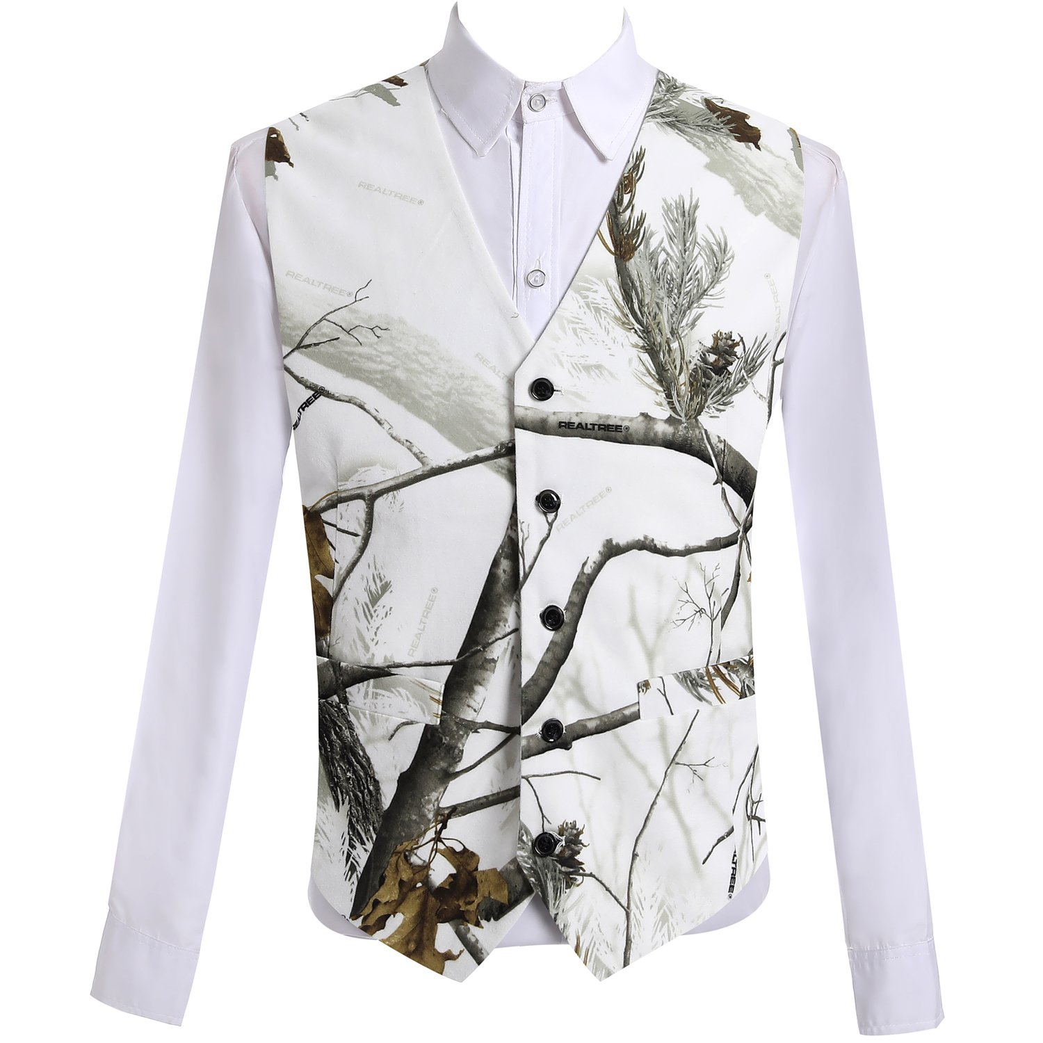 HBDesign Mens 1 Piece 5 Button Real Tree Camo White Slim Fit V-Neck Vests HMV005 WH Camo