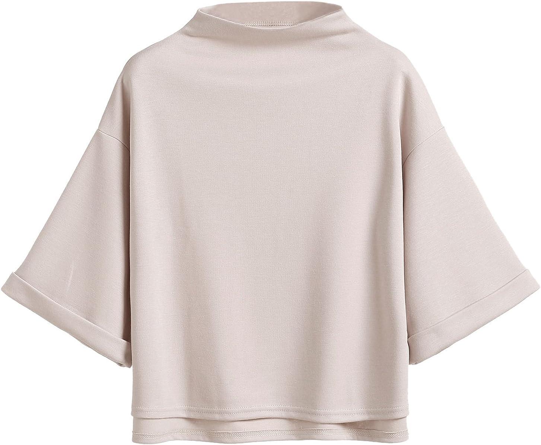 SweatyRocks Women's 3/4 Sleeve Mock Neck Basic Loose T-Shirt Elegant Top