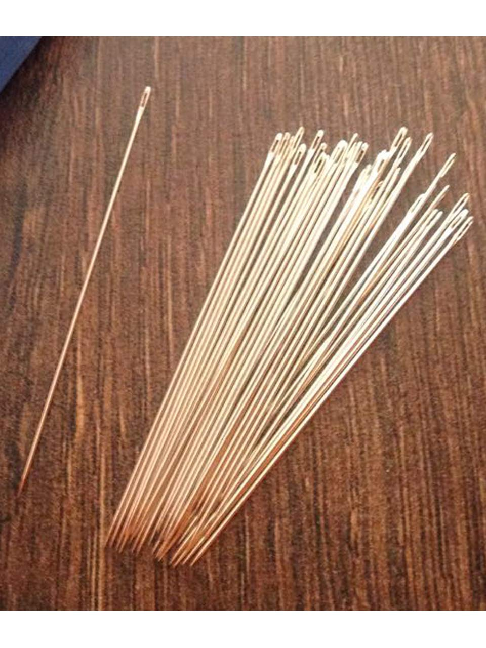 21 Pcs Beading Needles Size 8 with Needle Threader in 2 Clear Storage Tubes for Jewelry and Beading Projects