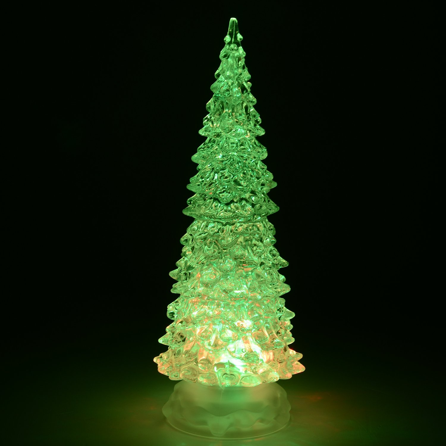 Glitter Filled Water Spinner Acrylic Christmas Tree, Colour Changing ...