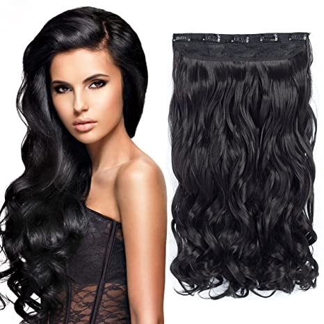 EERYA 20 quot  Curly Wave 3 4 Full Head One Piece 5clips Clip in on b9941454f2