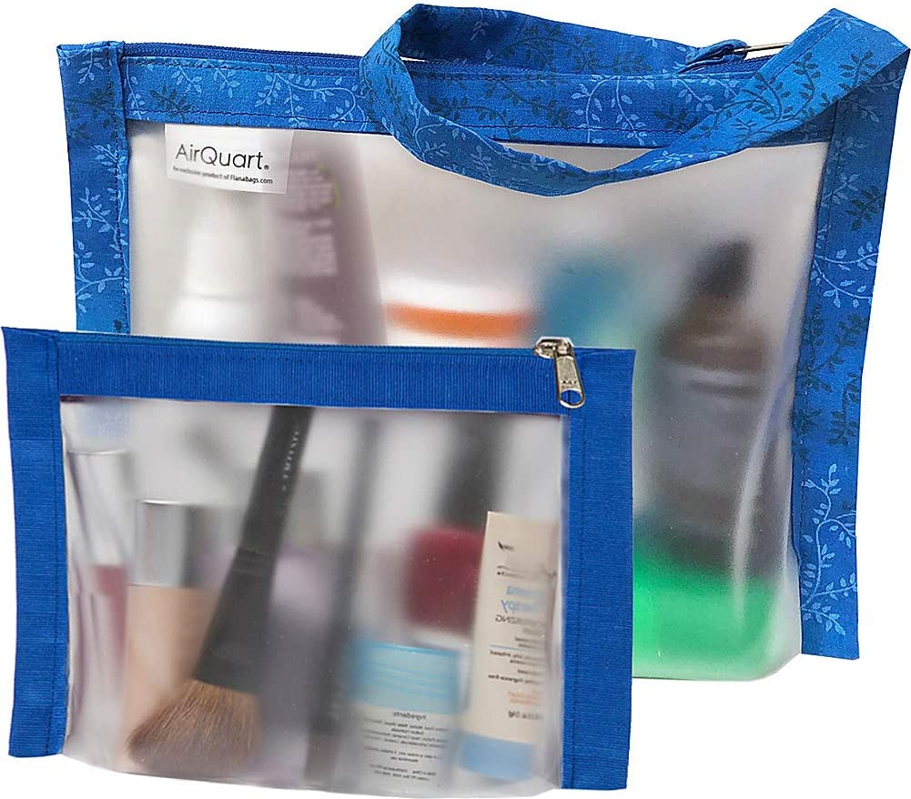 Blue Flanabags TSA Travel Duo Approved Clear Carry-on Quart Size 2 Bag Set