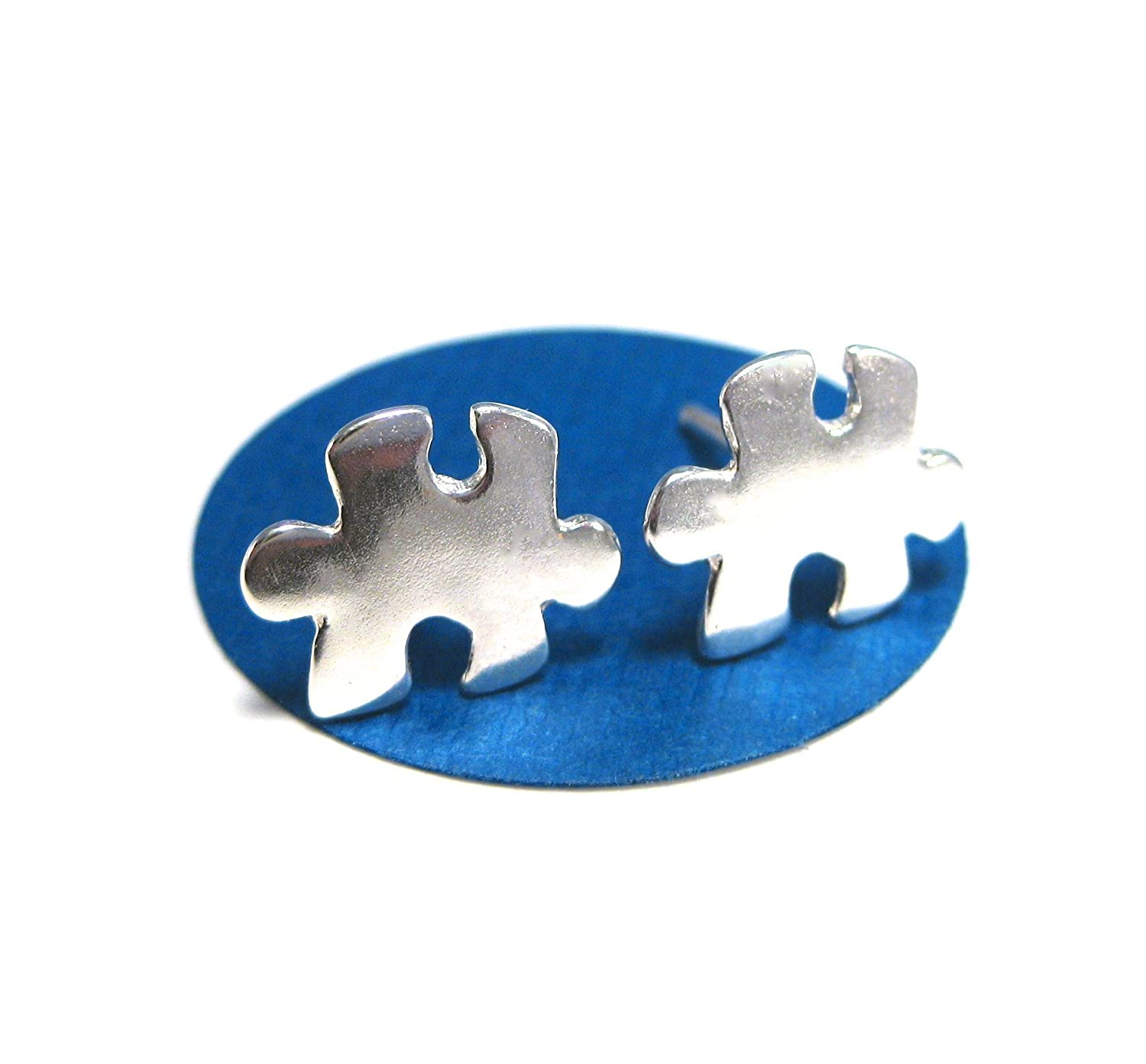 Sterling Silver Puzzle Piece Earrings Autism Awareness Jewelry