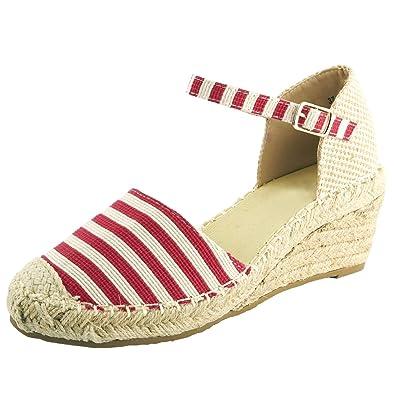 99a79c75bfa225 Chaussure Mode Femme Espadrille Sandale Plateforme Talon Compensé Corde 6.5  cm Raye Rouge T 35