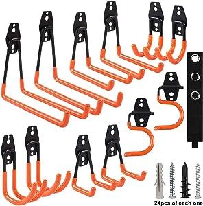 Hongway 15pcs Garage Hooks Heavy Duty, Wall Mount Hooks, Tool Hangers, Garage Storage Organizer for Garden Tool, Tool Storage for Ladders, Bike, Hoses, and More Equipment