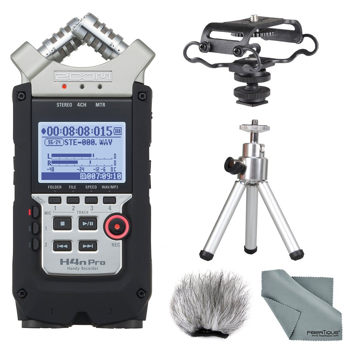 Zoom H4N PRO Four-Track Handy Audio Recorder, Microphone Shockmount, Table tripod, Furry Windscreen, along with Fibertique Cleaning cloth