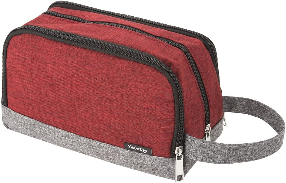 Wash Bag Separate Compartments, Yeiotsy Color Clash Durable Small Travel Toiletry Bag for Teens Hiking/Camping (Red)