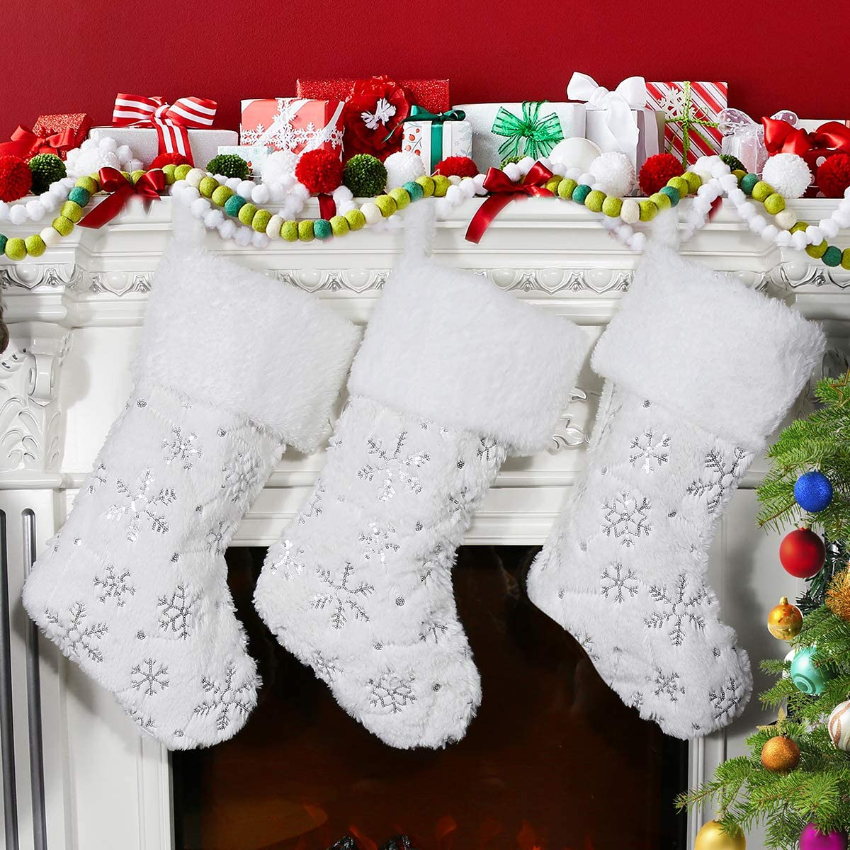 Large Faux Fur Xmas Stocking with Silver Sequin Snowflakes for Family Meriwoods Christmas Stockings 4 Pack 19 Inch Country Rustic Personalized Holiday Indoor Decorations Cream White