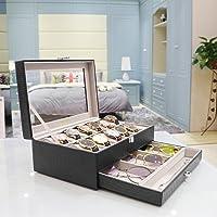 Langria 12 logements montre Affichage Boîte de rangement en simili cuir avec 12 Coussins Fermoir en métal Fermeture Showcase Organiseur avec couvercle en verre transparent, Noir/intérieur Gris
