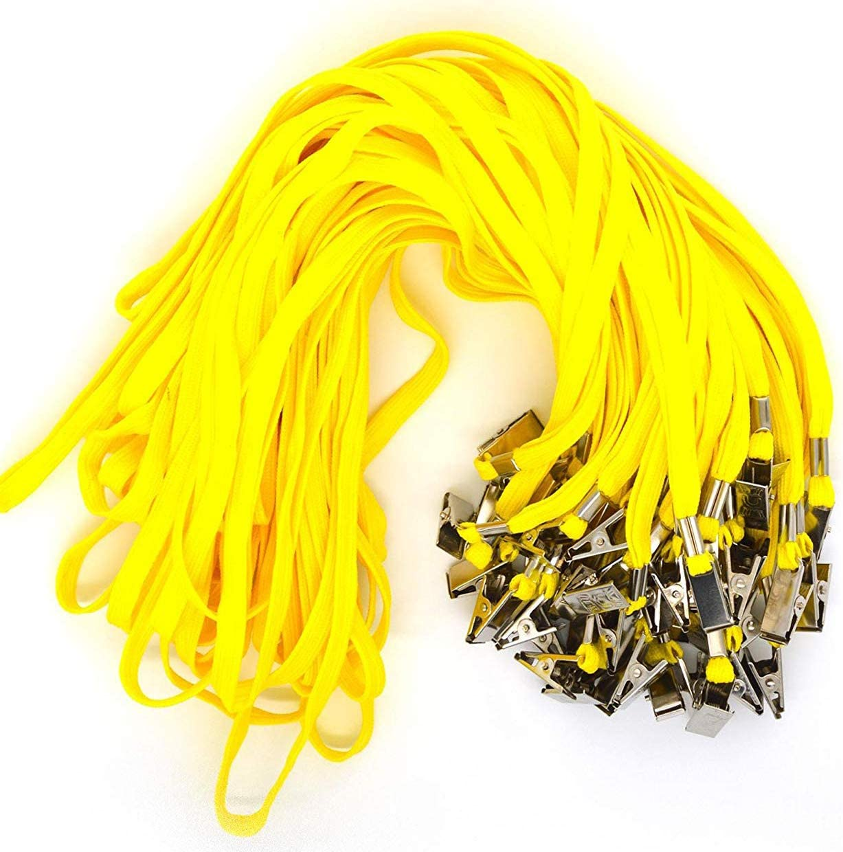 Bird Fiy 50 Pcs Cotton Lanyard Bulldog Clip 32-inch Flat Braid Neck Lanyard for Id Cards/Badges (Yellow)