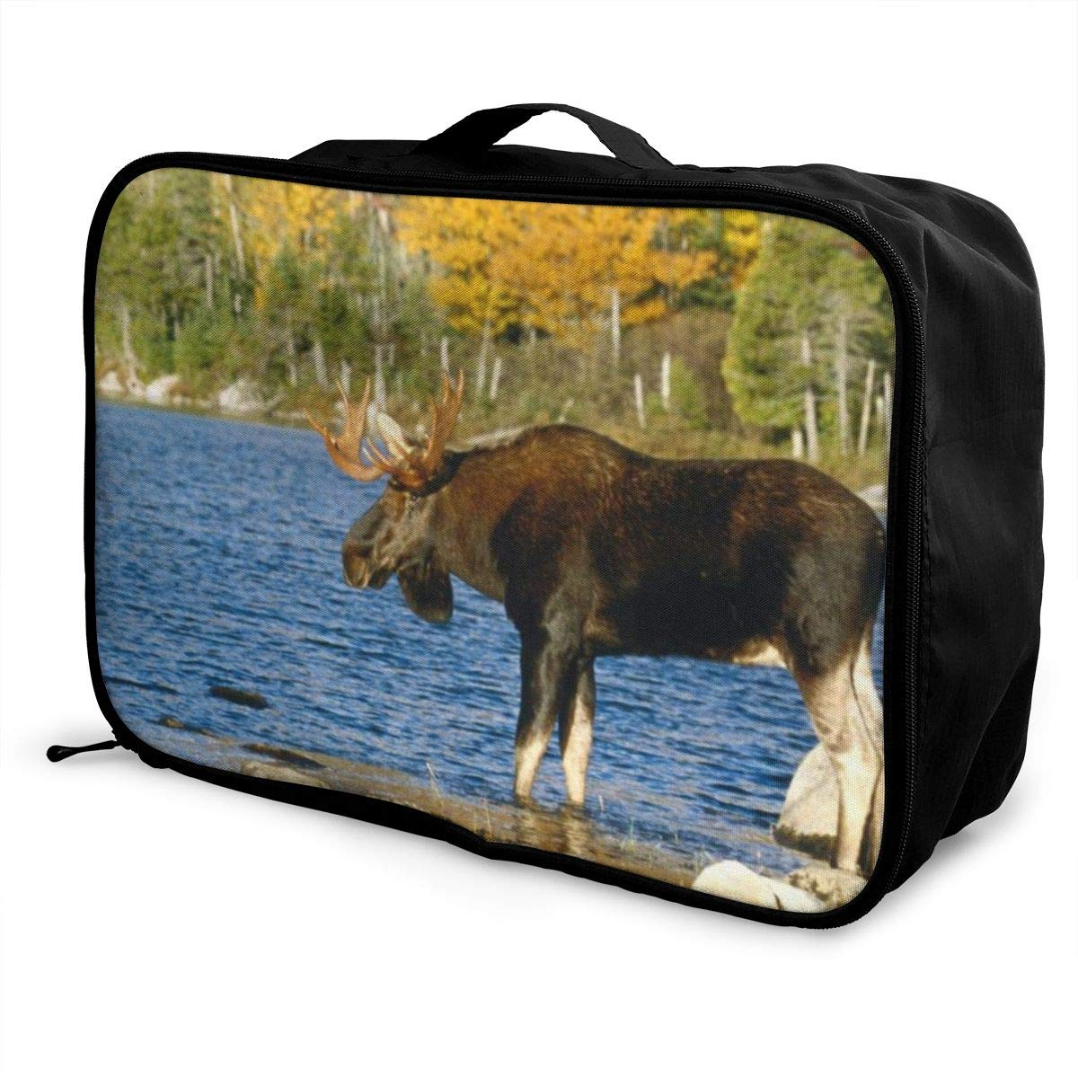 Animal Elk And Water Travel Lightweight Storage Carry Luggage Duffle Tote Bag