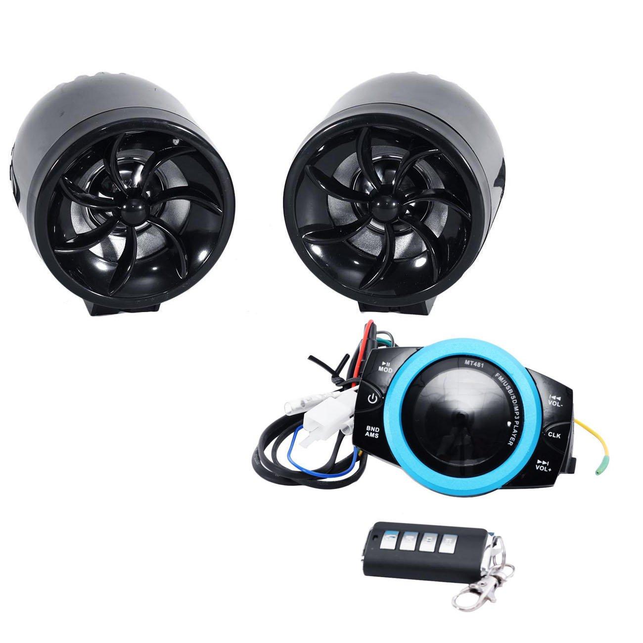 INNOGLOW Motorcycle Universal Audio Radio Handlebar Amplifier Stereo Speaker System FM MP3 2 LED Speakers 1 audio system