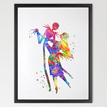 dignovel studios 13x19 jack skellington and sally the nightmare before christmas watercolor halloween wall artwork wedding