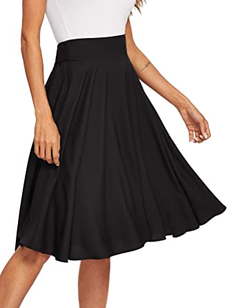 d79ce3cc3bc Floerns Women s Pleated High Waist Knee Length A Line Midi Skirt Black XS