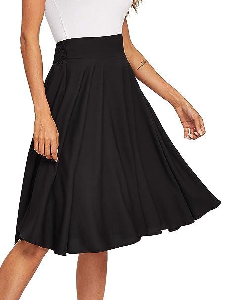 Floerns Women s Pleated High Waist Knee Length A Line Midi Skirt Black XS 43058cfbc54