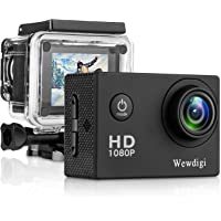 Wewdigi EV4000 12MP 1080P 2 Inch LCD Screen Action Camera with 9 Accessories Kit