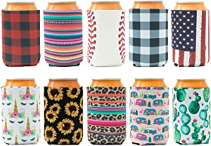 HaiMay 10 Pieces Beer Can Sleeves Beer Can Coolers Drink Cooler Sleeves for Cans and Bottles, Fashion Styles