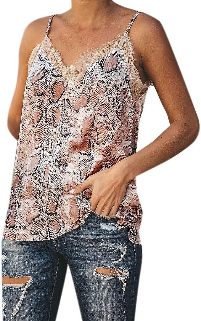 QingFan Women Leaf Print Vest Sleeveless Loose Crop Tops Tank Tops Blouse Tops T-Shirt