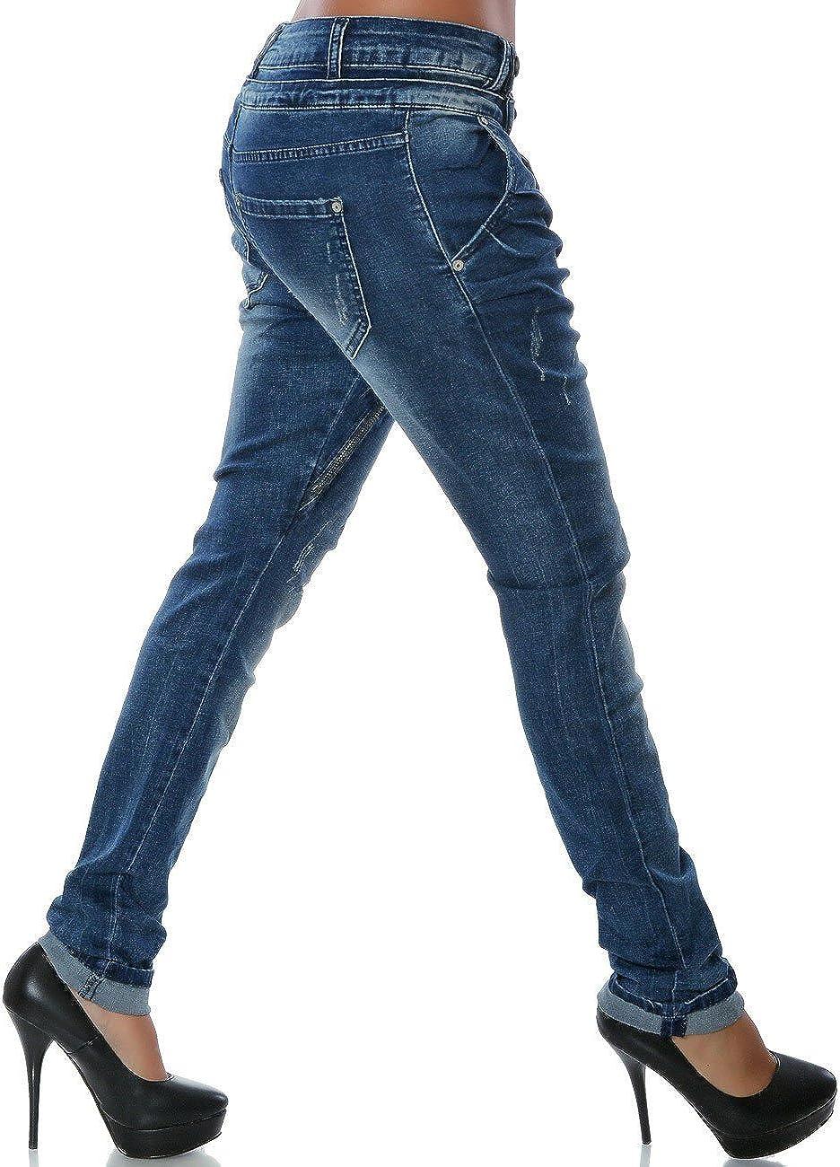 Daleus Damen Boyfriend Jeans Hose Rei/ßverschluss Knopfleiste Stretch DA 14145