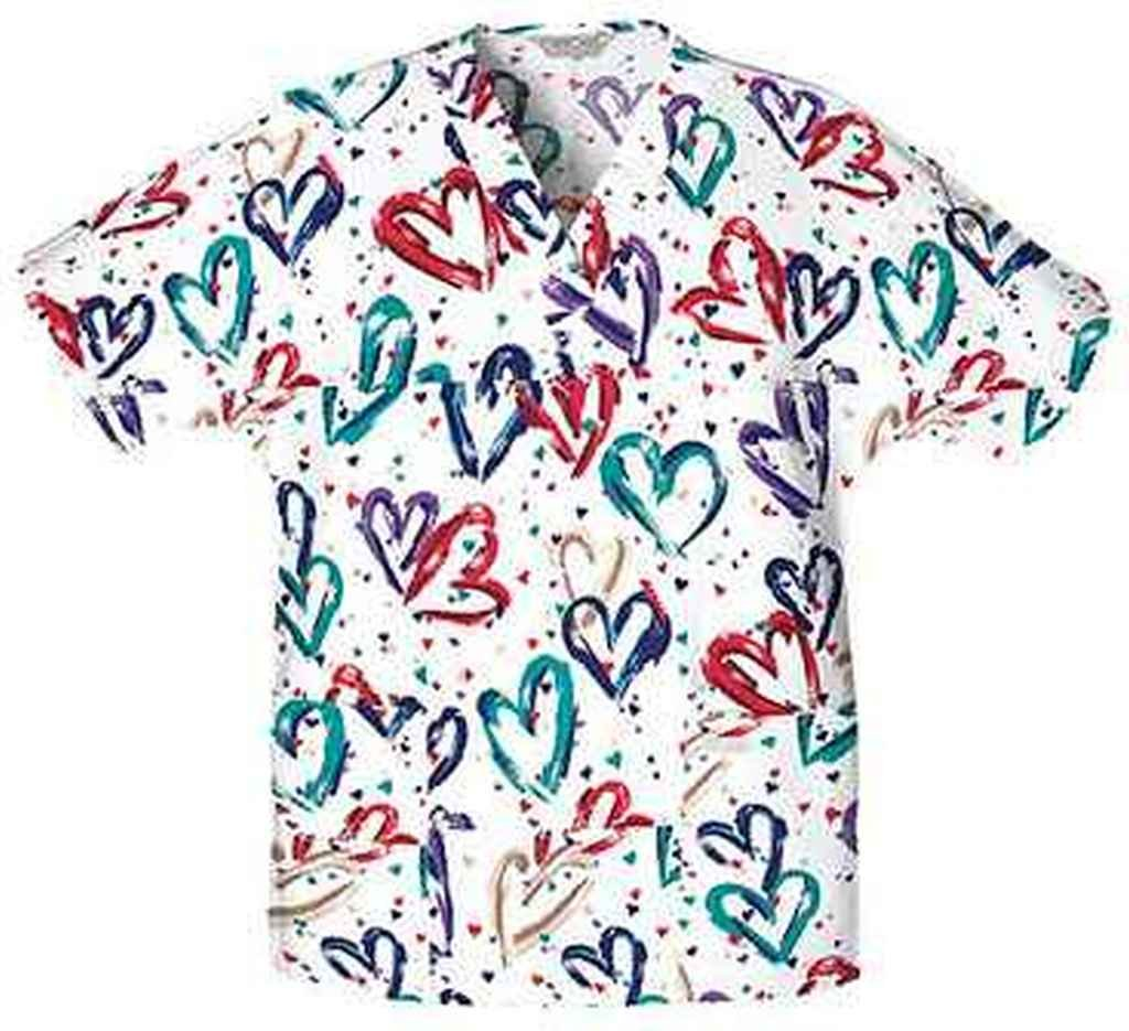 Cherokee Women's Plus-Size V-Neck Tunic Heartbeat 4X-Large Cherokee Scrubs 759X