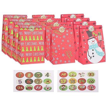 Calendario de Adviento,Bolsas de regalo navidad, 24pcs ...