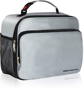 SEEHONOR Large Capacity Insulated Lunch Box, Thermal Durable Reusable Lunch Bag Lunch Tote Bag Bento Bag Soft Bag for Women Men Adults Office Work School Picnic Hiking Beach,Silver(L)