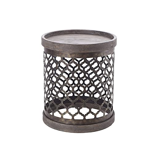 Madison Park Cirque Accent Metal Side Table Drum Design, Modern Mid-Century Rustic Style Living Room Furniture, Medium, Grey