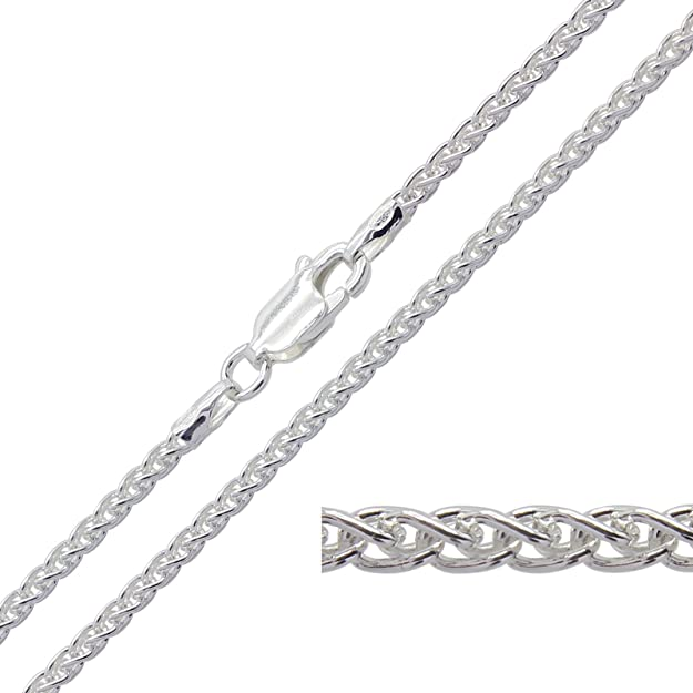 925 Solid Sterling Silver 1.9mm SPIGA WHEAT Chain Pendant Necklace Lengths: 16, 18, 20, 22, 24, 26, 28, 30