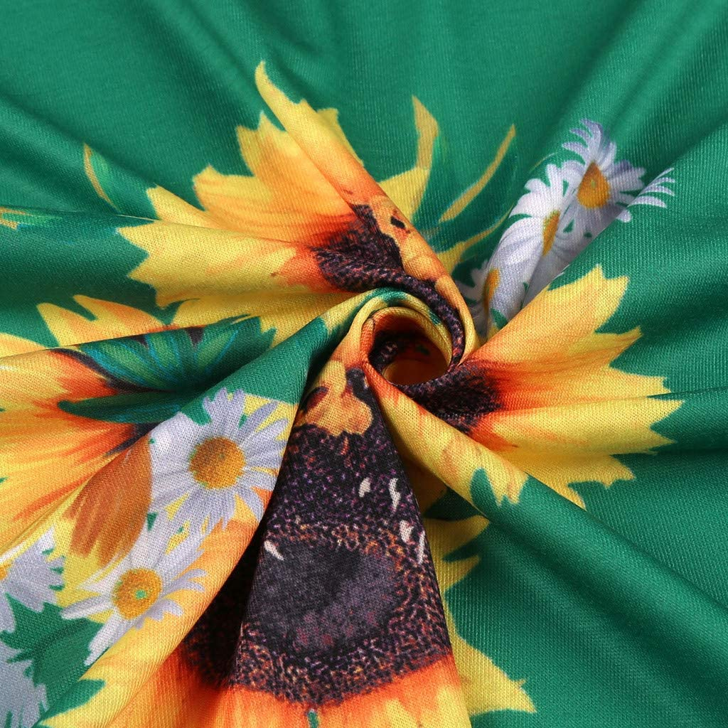 Yuwegr Langarm Damen Kleider Mode Boho Floral Print Lange Frauen Kleid Casual Kurzarm Dress Party Maxikleid S-5XL