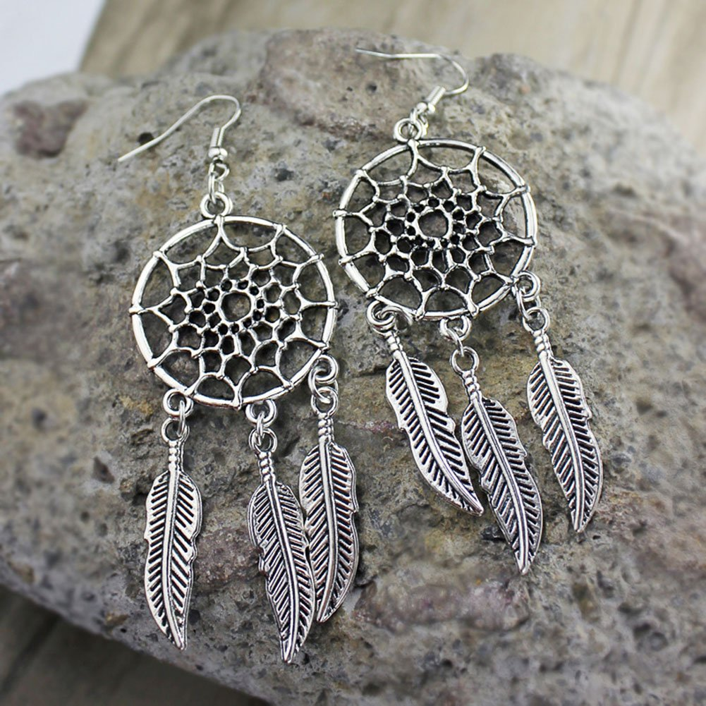 MayLove 3pcs Boho Retro Silver Turquoise Dream Catcher Feather Tassel Bead Charm Earrings Necklace Set
