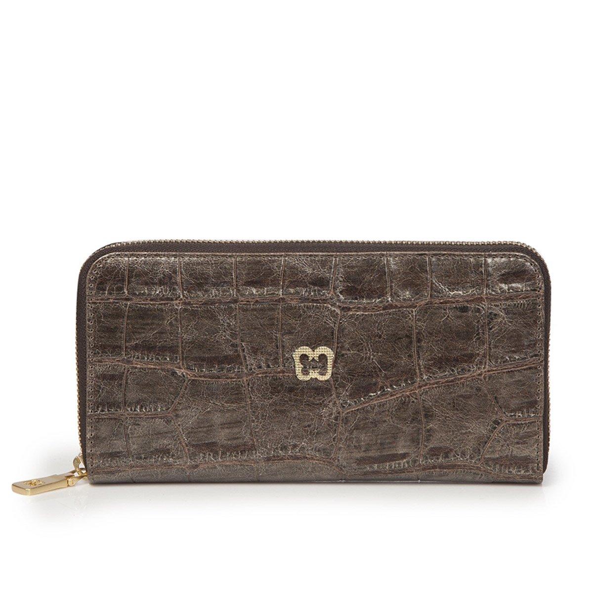 Eric Javits Luxury Fashion Designer Women's Handbag - Zip Wallet - Pewter